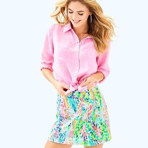 Lilly Pulitzer Sea-View Button Down Pink Sunset